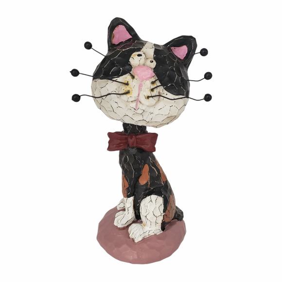 Bobble Head Cat Figurine Exaggerated Whiskers